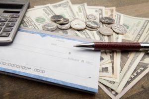 Check, Paycheck, Bank Account.
